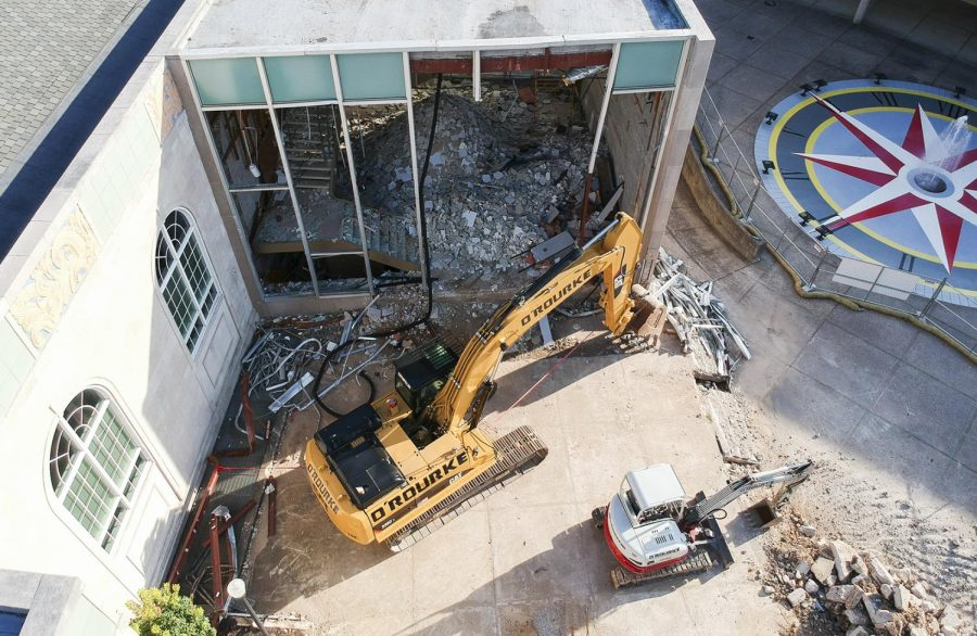 Construction equipment at by FAC for work on renovations to Helm Library on Saturday, Aug. 24, 2019.
