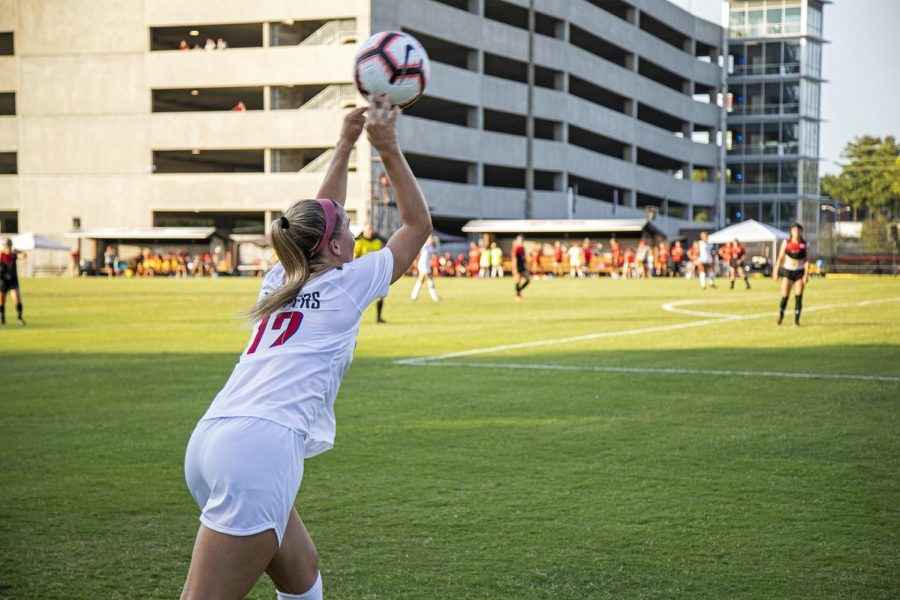 Avery Jacobsen (12) throws the ball in during an exhibition against Austin Peay at the WKU Soccer Complex on Aug. 18, 2019.