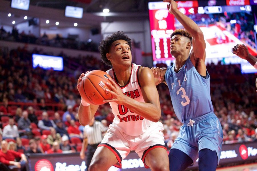 Freshman forward Tolu Smith looks for space down low during WKUs 77-76 loss to Florida International Thursday in Diddle Arena. Smith had six points in the loss.