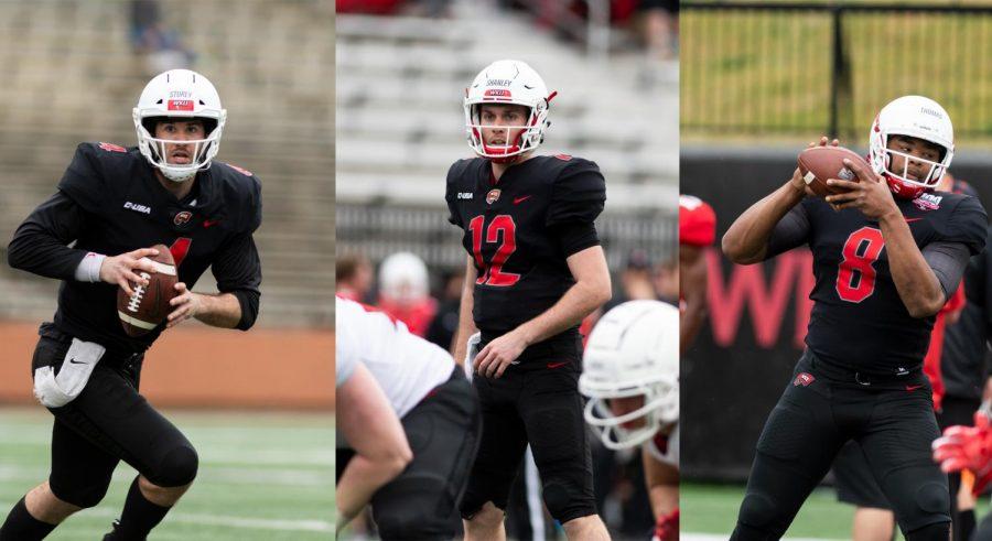 WKU quarterbacks Ty Storey (4), Davis Shanley (12) and Kevaris Thomas (8) during the Red vs White spring game on April 13, 2019.