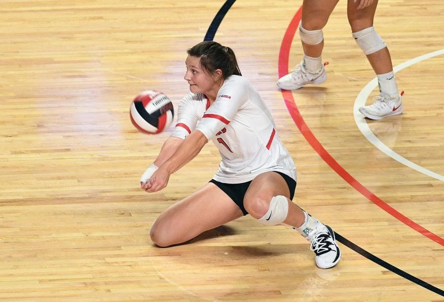 WKU+outside+hitter+Paige+Briggs+%281%29+hits+the+ball+during+the+WKU+volleyball+game+against+the+Ohio+State+Buckeyes+in+Diddle+Arena+on+Sept.+13%2C+2019.