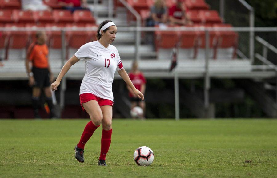 Christina Bragado (17) kicks the ball against Belmont during their season opener atthe WKU Soccer Complex on Thursday, Aug. 22, 2019.