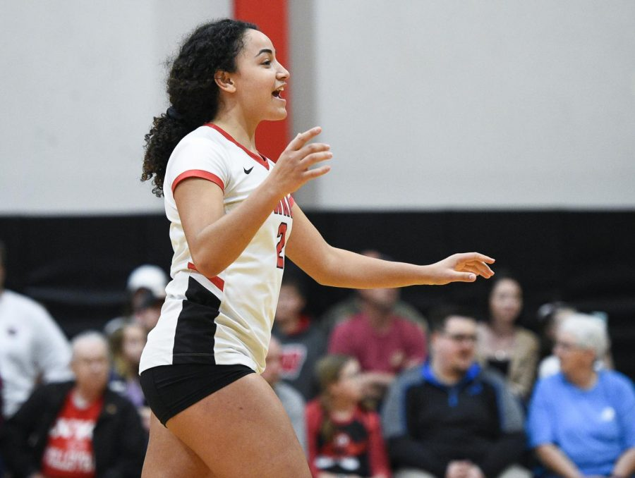 WKU+setter%C2%A0Nadia+Dieudonne+%282%29+during+the+WKU+Spring+Volleyball+Tournament+at+Diddle+Arena+on+April+13%2C+2019.