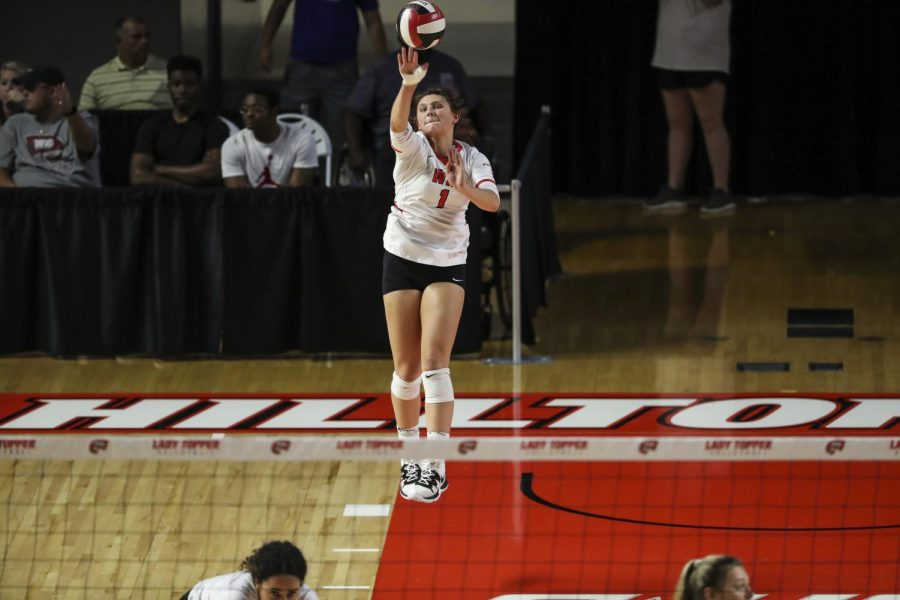 WKU+outside+hitter+Paige+Briggs+%281%29+serves+during+the+WKU+volleyball+game+against%C2%A0Samford+in+Diddle+Arena+Sept.+21%2C+2019.