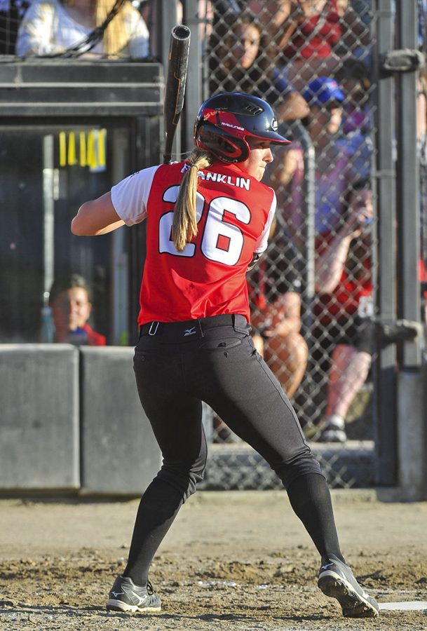Canadian Women's National Team outfielder Larissa Franklin (26) bats while playing a game for Team Canada. Franklin played at WKU in 2015.