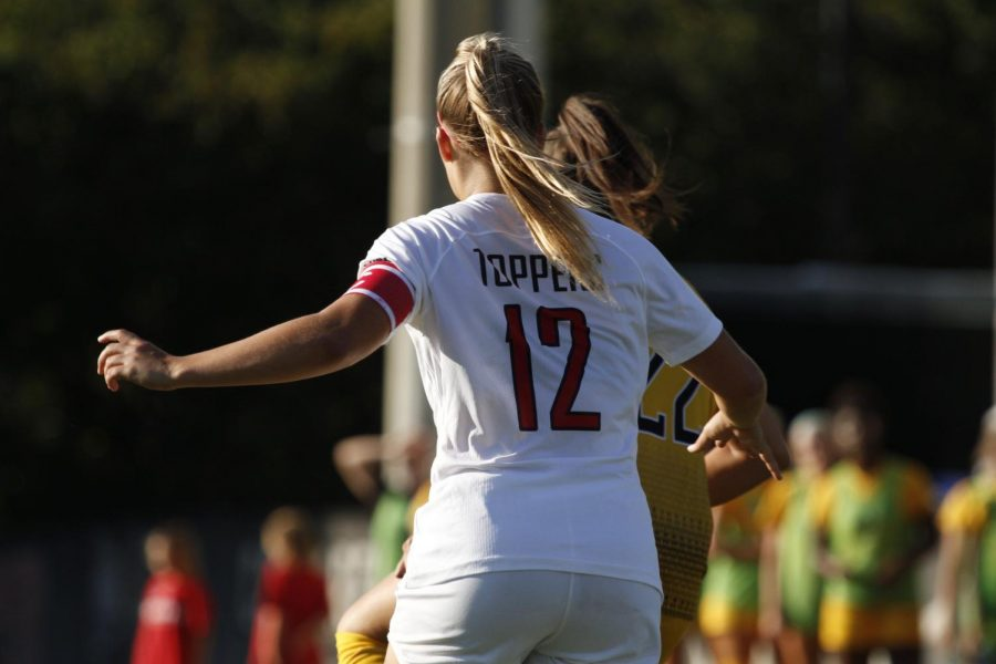 WKU+defender+Avery+Jacobsen+%2812%29+chases+after+the+ball+during+a+home+game+against+Southern+Miss+on+Saturday%2C+Sept.+21%2C+2019.+The+Lady+Toppers+won+the+game+in+a+double-overtime+thriller.
