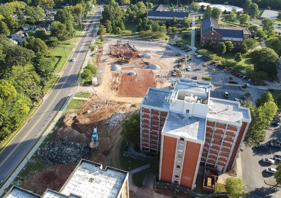Construction equipment on the site of construction for what will be the First Year Village by Bemis Lawrence hall on Saturday, Aug. 24, 2019.