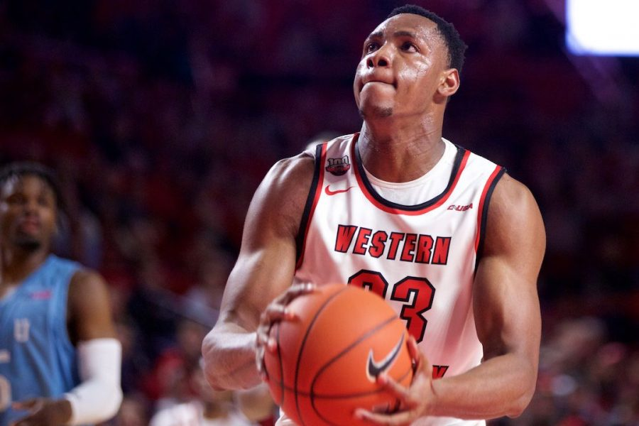 Freshman center Charles Bassey shoots a free throw during WKU's loss to Florida International Thursday in Diddle Arena. Bassey was 1 for 2 from the free-throw line and scored eight points in the loss.