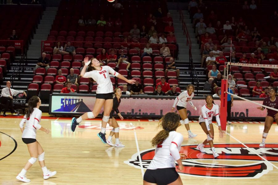 WKU's Paige Briggs (1) spikes the ball during a home game against Eastern Kentucky on Tuesday, Sept. 10, 2019. This match moved the Lady Toppers to 6-1 on the season.