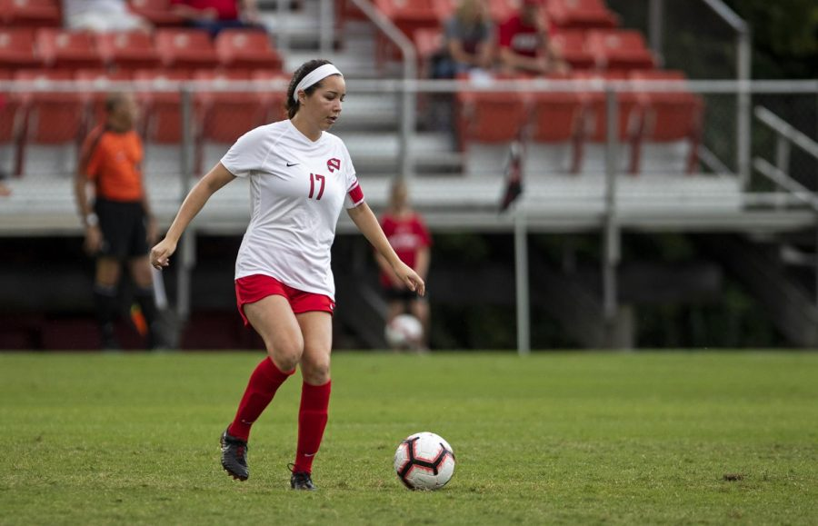 Christina+Bragado+%2817%29+kicks+the+ball+against+Belmont+during+their+season+opener+at%C2%A0the+WKU+Soccer+Complex+on+Thursday%2C+Aug.+22%2C+2019.