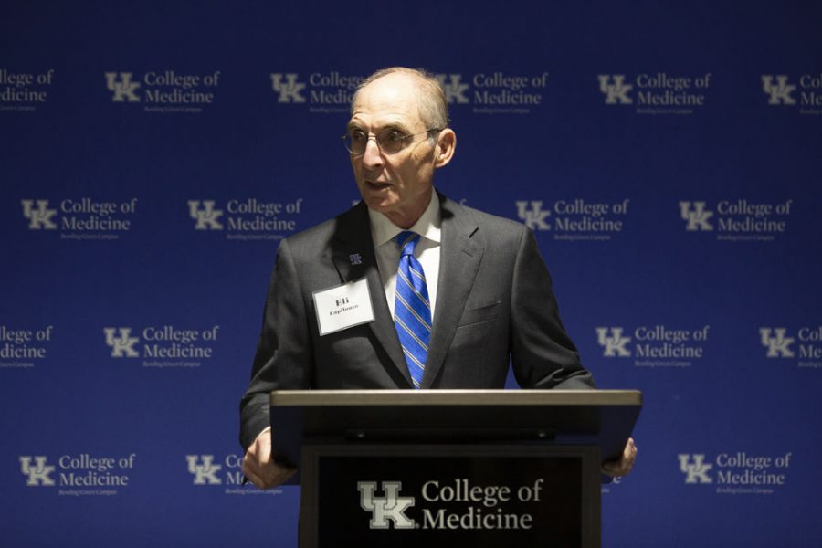 University of Kentucky President Eli Capilouto gives his remarks during the reception held by the UK College of Medicine Bowling Green Campus on October 23, 2019.