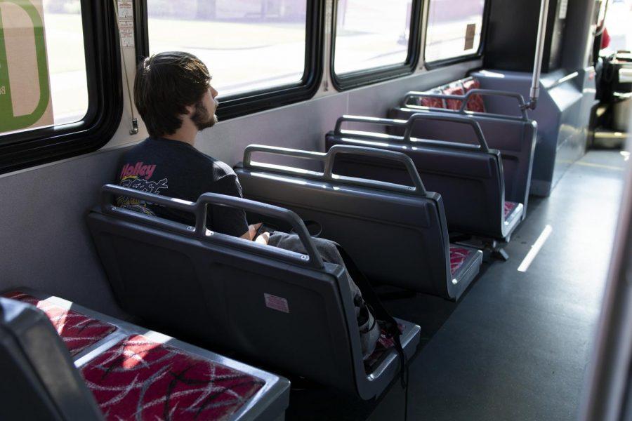 Franklin junior Dakota Bradstreet rides the Big Red line on September 27, 2019. Bradstreet said he rides the bus every day.