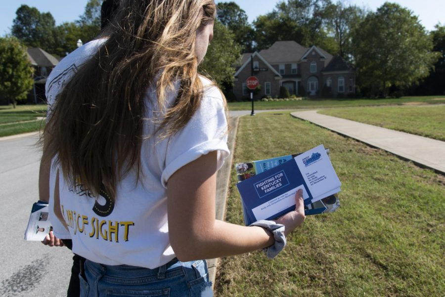 Elias Thompson, a WKU junior From Spring Hill, TN, and Julianna Low, a WKU sophomore from White House, TN, spent the morning of September 28 canvassing Bowling Green neighborhoods for Andy Beshear's campaign.