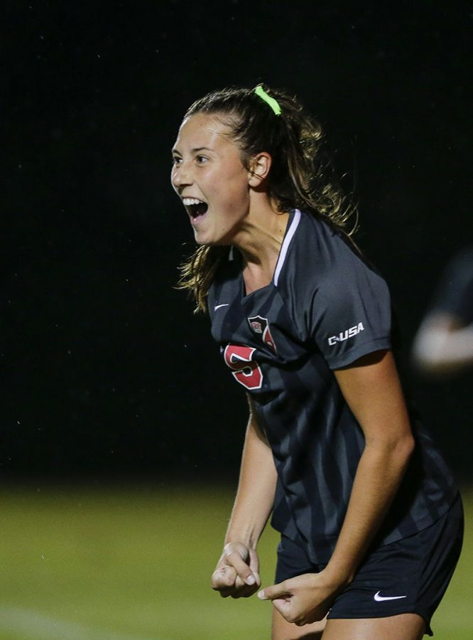 WKU senior Chandler Backes (9) celebrates scoring the game winning goal during the senior night game against the UAB Blazers at the WKU Soccer Complex on Friday, Oct. 25, 2019.