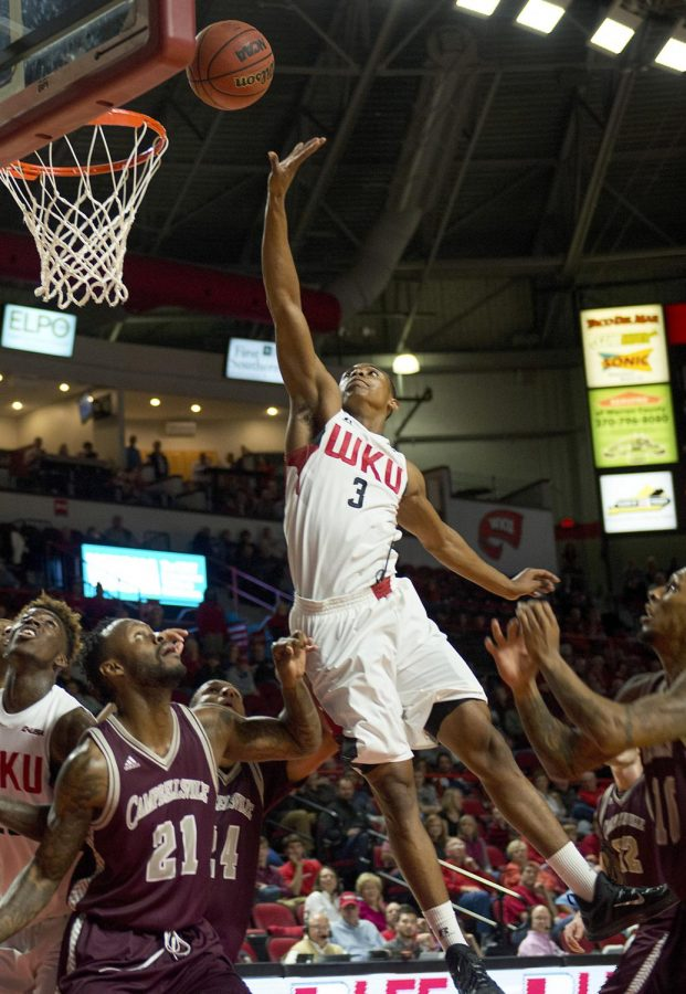 Freshman guard Marlon Hunter (3) heads towards the hoop during the game against Campbellsville University at Diddle Arena, Saturday, Nov. 14, 2015. Hunter finished the game with four points and five rebounds. Matt Lunsford/HERALD
