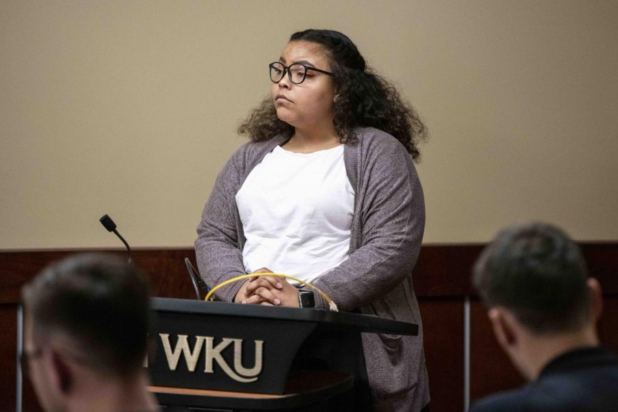 Symone Whalin, one of the authors of Resolution 1-19-S, expresses to SGA during a meeting on Feb. 26, 2019 why the historical marker located in front of the Kentucky Museum on Western Kentucky University's Campus should be relocated.