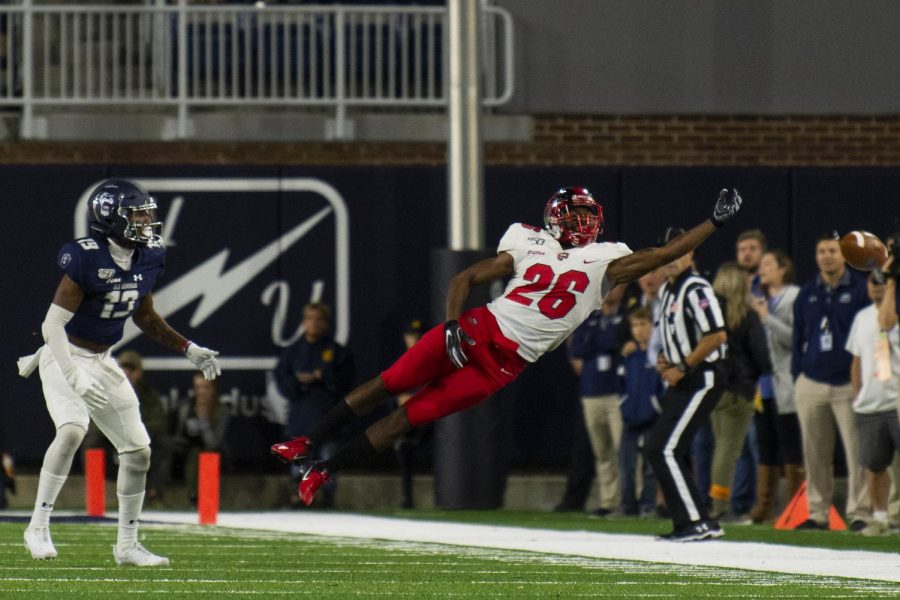 WKU defensive back Dionté Ruffin (26) breaks up a pass intended for ODU's Cornell Hendrick Jr. (19) at S.B. Ballard Stadium on October 5, 2019 in Norfolk, Va. WKU won 20-3