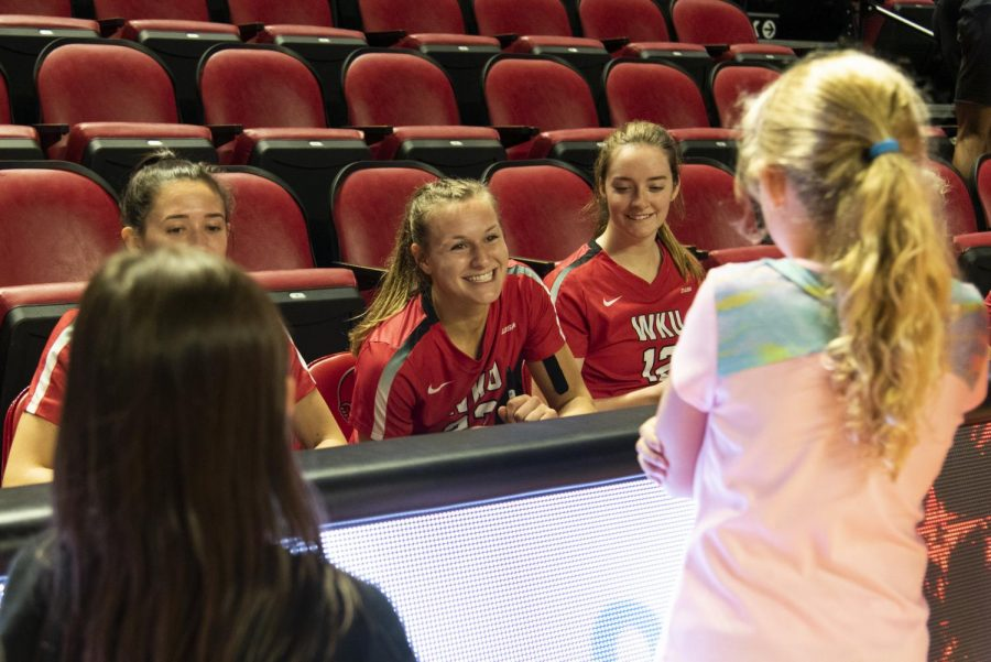 WKU women's volleyball's Sophia Cerino, a senior from Brentwood, Tenn., signs autographs for fans after their game against Middle Tennessee State University on Friday, October 5, 2019. Cerino recorded nine kills, four aces, and two blocks.