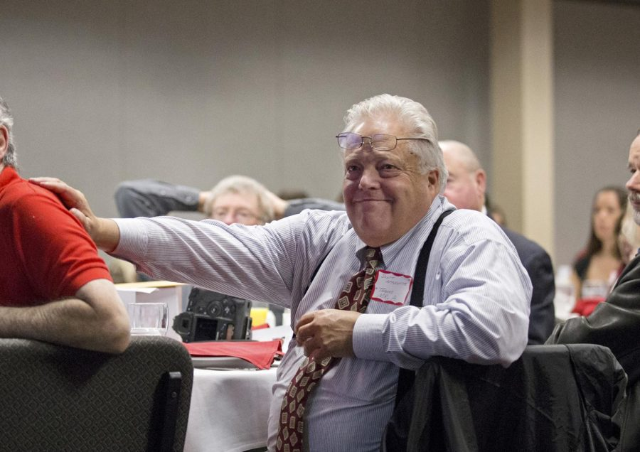 Alumni Paul Schuhmann (left) and J. Scott Applewhite at the 64th annual Student Publications Homecoming Breakfast Saturday, Nov. 8, 2014 at the Carroll Knicely Center in Bowling Green, Ky