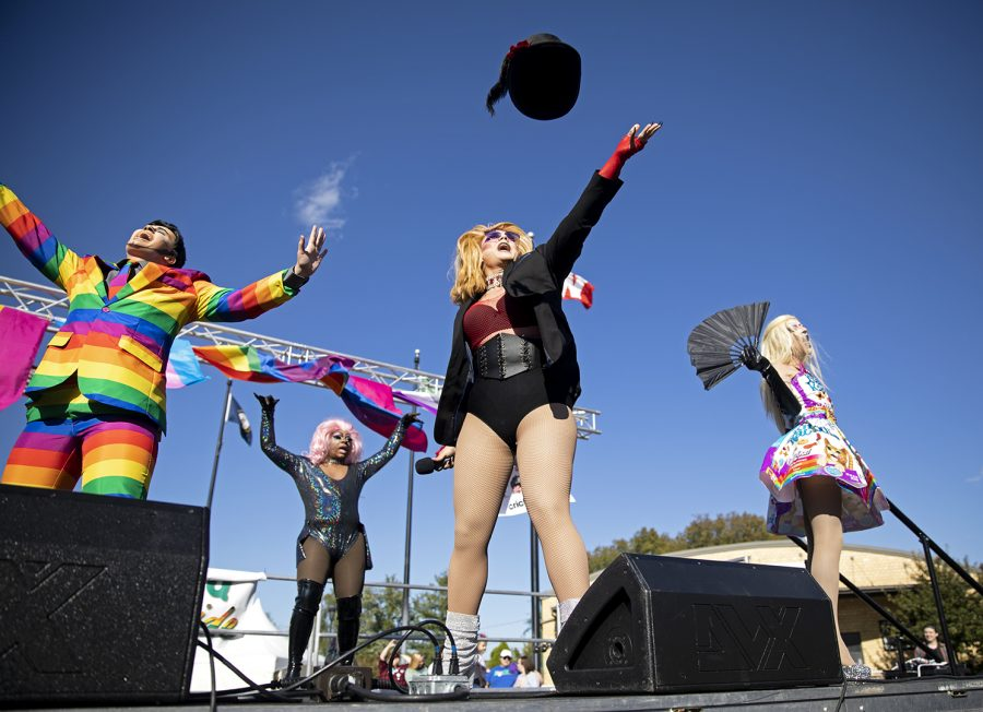 Drag performers Dick Sterling, Scarlett Mascara, Lilly McQueen Fitzgerald, and Barbie Crash perform on stage at Circus Square Park for the second year for 2018 Pride Festival.