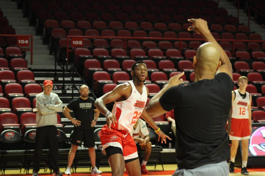 Sophomore+center+Charles+Bassey+%2823%29+participates+in+Hilltopper+Basketball+Pro+Day%C2%A0in+Diddle+Arena+on+Wednesday%2C+Oct.+9%2C+2019.