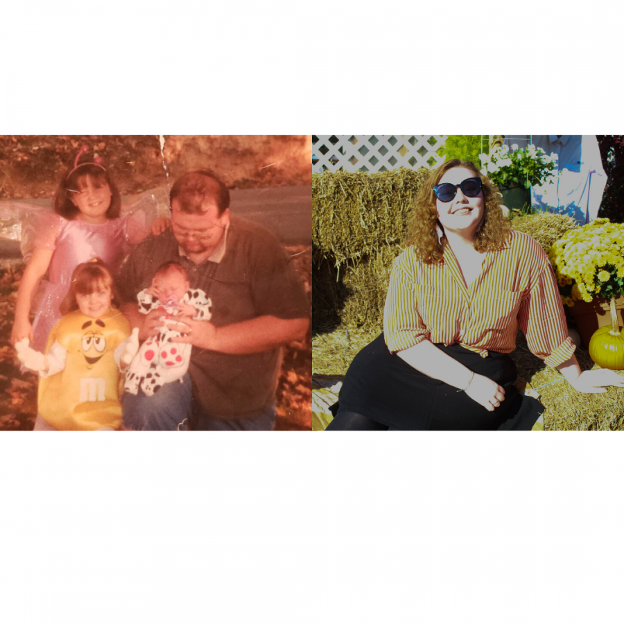 The photo (left) shows features reporter Taylor Metcalf dressed as a dalmatian with her father and sisters at less than one month old. The photo (right) shows Metcalf at 20 years old.
