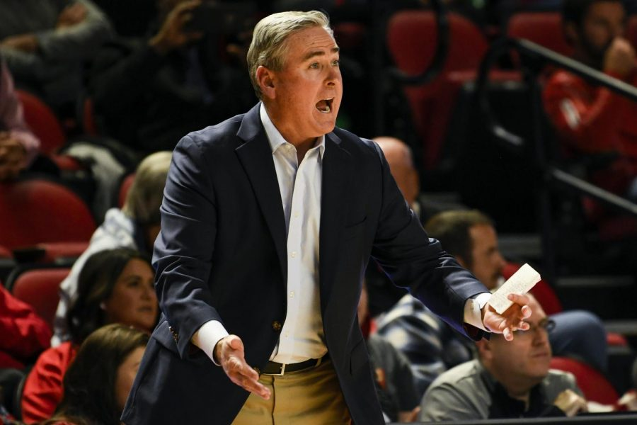 WKU head coach Rick Stansbury communicates with his players from the bench during the exhibition basketball game between Kentucky State and WKU in Diddle Arena on November 2, 2019. WKU won 85-45.
