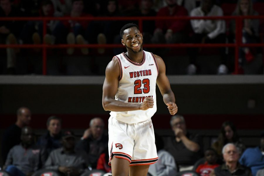 WKU+sophomore+center+guard+Charles+Bassey+smiles+during+the+exhibition+basketball+game+between+Kentucky+State+and+WKU+in+Diddle+Arena+on+November+2%2C+2019.+WKU+won+85-45.