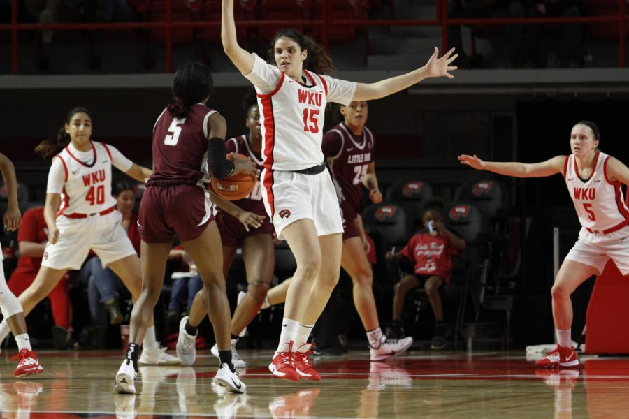 WKU junior forward Raneem Elgedawy (15) defends Little Rock junior guard Tori Lasker (5) during the Lady Toppers' game against Little Rock in Diddle Arena on Sunday, Nov. 24 in Bowling Green.