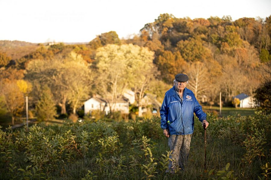 """David Kramer stands on a hillside which overlooks his property. """"Cynthiana found us,"""" David said, as settling down in Cynthiana was an arbitrary choice. """"It could have been Timbuktu if I could have found it."""""""