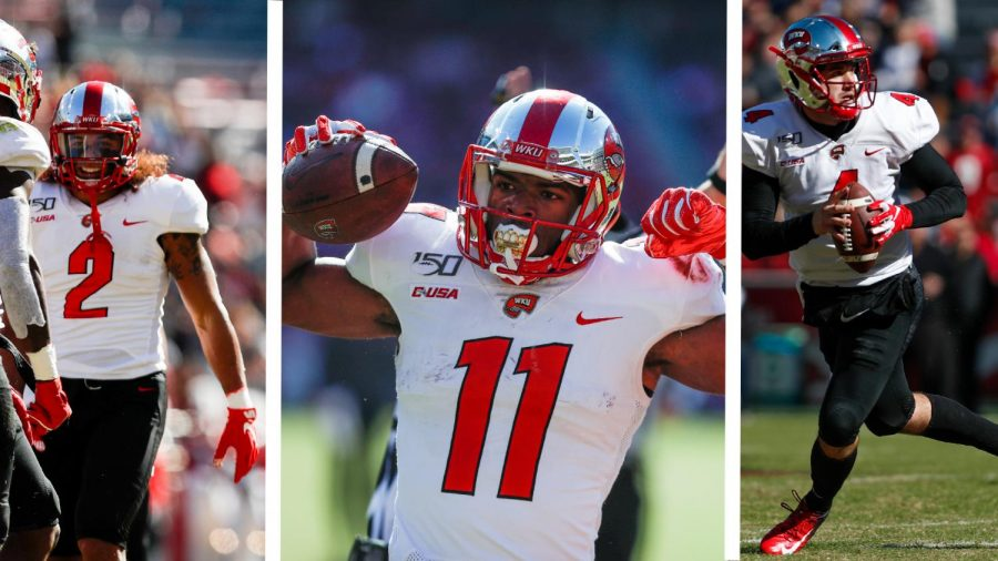 WKU's Devon Key (2), Lucky Jackson (11), and Ty Storey (4) during the Hilltoppers' game against Arkansas on November 9, 2019.