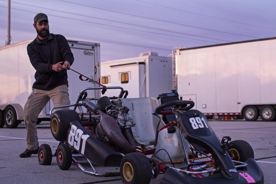 Michael Comley begins packing up his kart into his trailer for a tuning up after a day of practice before the races begin. Comley shares the kart with his friend and racing partner, Paul Gatto. Gatto said that kart racing is an expensive passion, and their kart alone costed them $10,000.