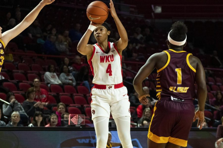 WKU+forward+Dee+Givens+%284%29+shoots+the+ball+over+Central+Michigan+forward+Gabrielle+Bird+%2833%29.+The+Lady+Toppers+defeated+the+Chippewas+93+-+58+in+Diddle+Arena+on+Sunday%2C+November+17+2019.