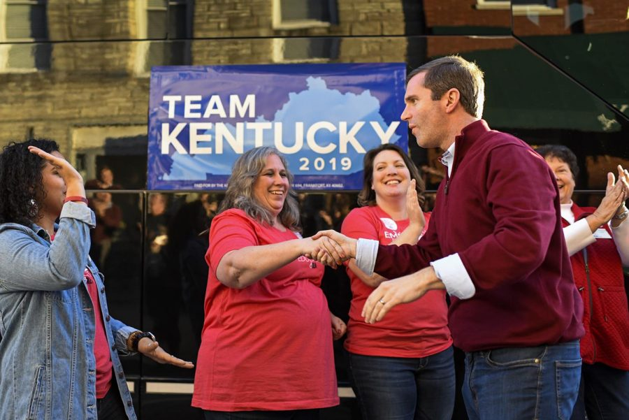 Andy Beshear shakes the hands of his supporters as he gets off his tour bus at a campaign stop in Franklin on the day before elections, Monday, November 4, 2019. Beshear hopes to beat Matt Bevin as the democratic candidate for Governor.