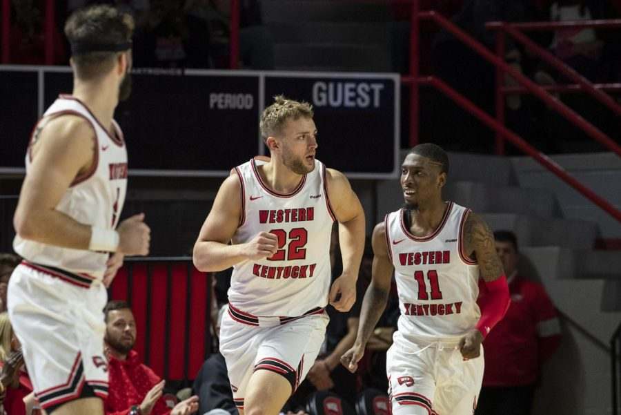 WKU+redshirt+junior+Carson+Williams+%2822%29+runs+back+after+scoring+against+Campbellsville+during+the+game+in+Diddle+Arena+on+Monday%2C+Nov.+18%2C+2019.