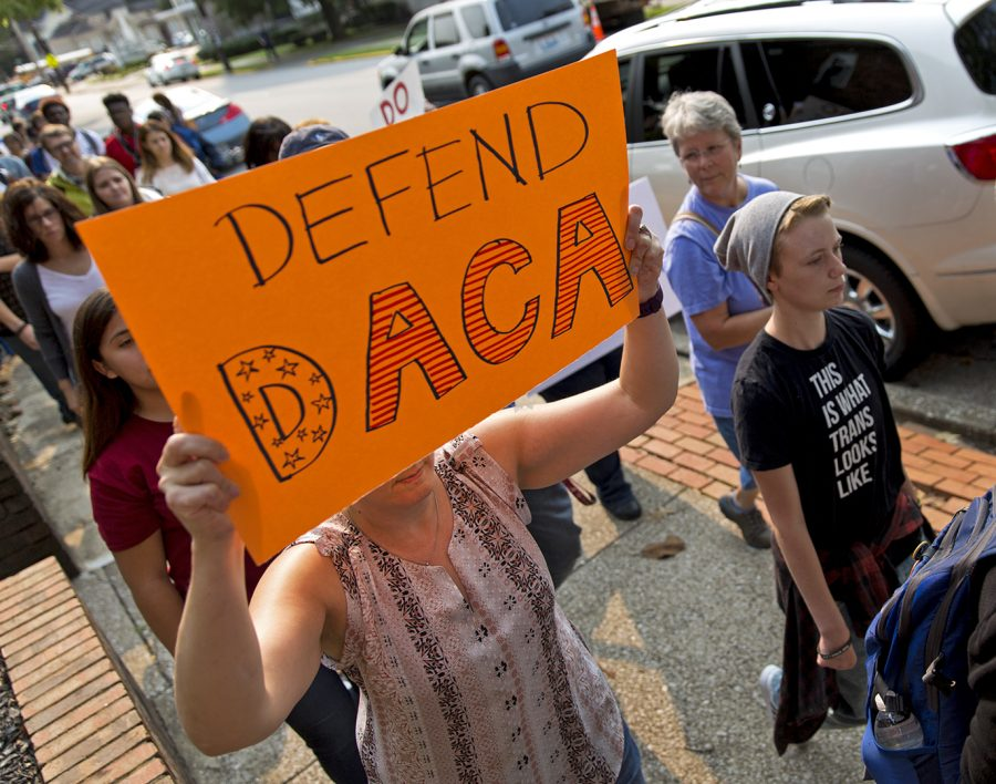 Demonstrators march from Cherry Hall at WKU to Senator Rand Pauls office downtown to deliver a petition in support of the Deferred Action for Childhood Arrivals Tuesday, Sept. 5, 2017. Just hours before, the Trump administration announced the end of DACA, a program that protected over 800,000 undocumented immigrants brought to the United States as children. A promise has been made to the dreamers under DACA and I think we need to keep our promise, Dr. Patricia Mintor, a WKU history professor, said.