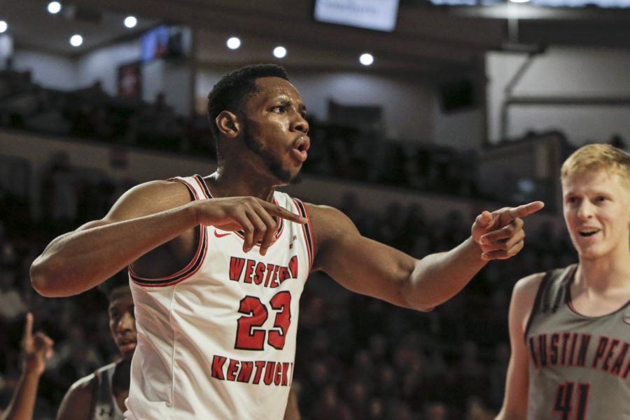 WKU+sophomore+center+Charles+Bassey+%2823%29+reacts+to+a+call+from+the+referees+during+the+game+against+Austin+Peay+on+in+E.+A.+Diddle+Arena+on+Saturday%2C+Nov.+9%2C+2019.