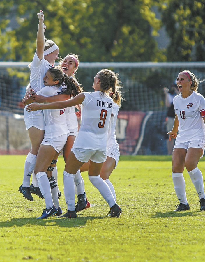 WKU Lady toppers celebrate after WKU Lady topper forward Ashley Leonard (7) scored a penalty kick to defeat the Louisiana Tech Lady Techsters during the game at the WKU Soccer Complex on Sunday Sept. 29, 2019.