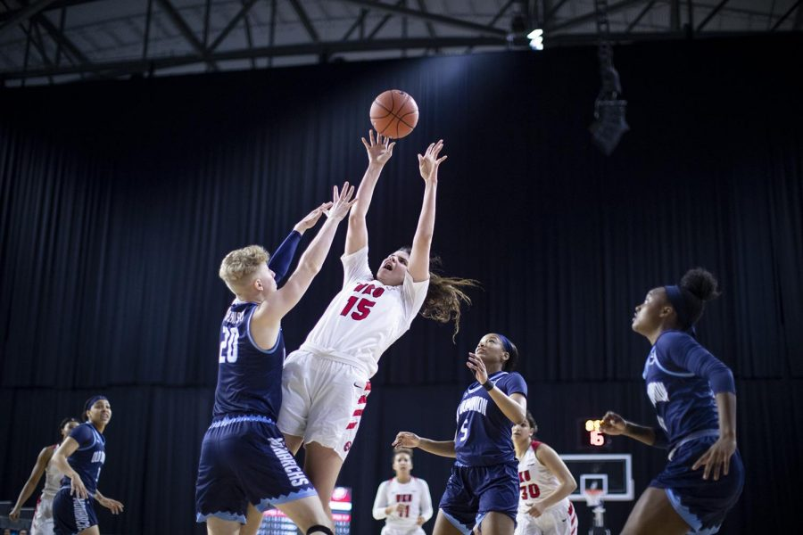 WKU sophomore forward Raneem Elgedawy fades away her jumper over Old Dominion Maggie Robinson in day two of the C-USA Women's Tournament at the Ford Center at The Star March 14 in Frisco, Texas. Elgedawy crushed the boards with 15 rebounds and wiped the paint with 20 points in the 74-60 Hilltopper victory. [HERALD/ Joseph Barkoff]