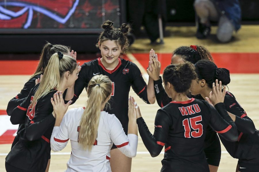 The WKU volleyball team huddles before the senior day game against the UAB Blazers at E.A. Diddle Arena on Saturday, Nov. 16, 2019. WKU swept UAB 3-0 to finish the regular season with a record of 28 wins and one loss.