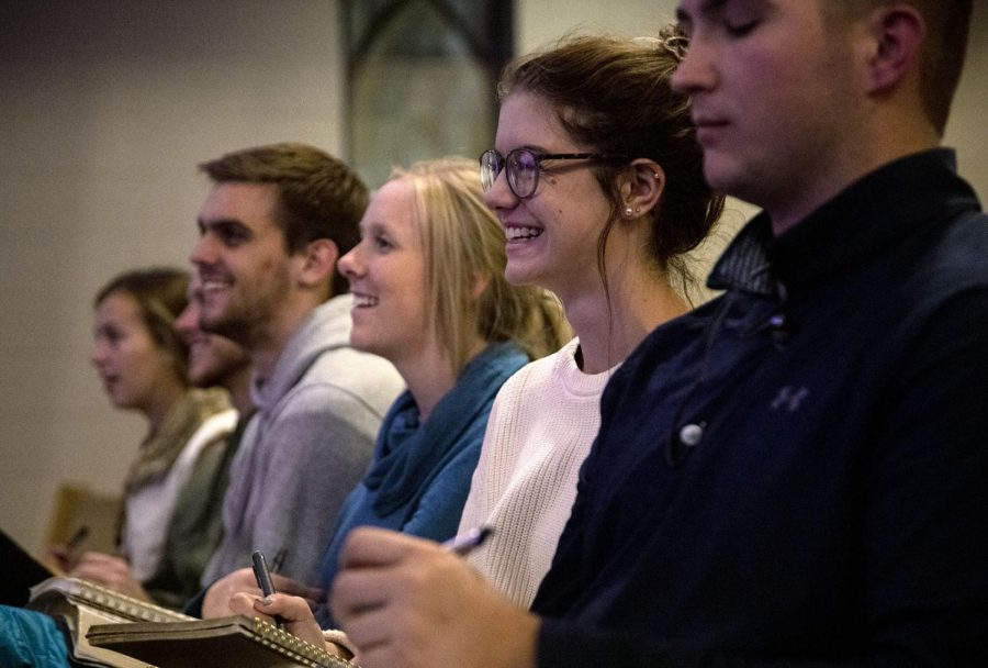 """Hunter Sewell preaches at Living Hope's chapel during its weekly college ministry night on Wednesday, Nov. 19. """"I am an ambassador for Christ, that's my purpose,"""" Sewell said. """"Whatever the case, that's my base identity. I'm a follower of Christ and therefore I'm a disciple-maker."""""""