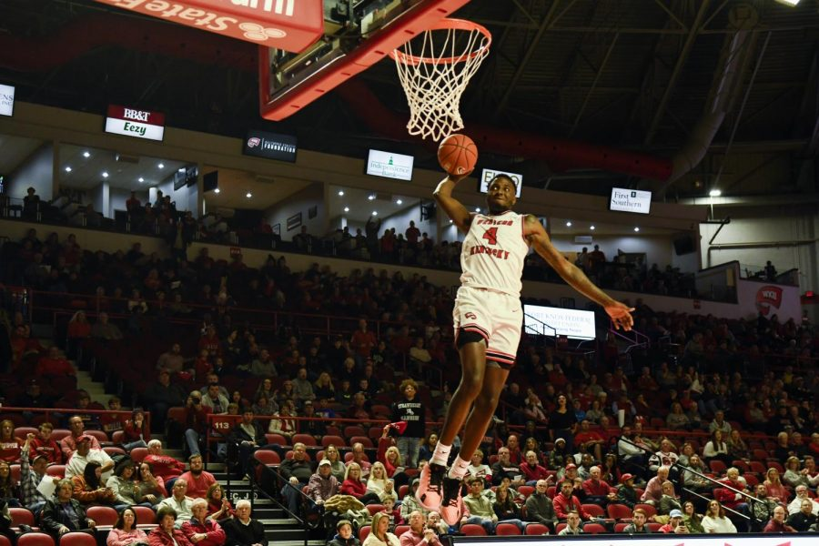 WKU+junior+guard+Josh+Anderson+%284%29+goes+up+for+a+dunk+during+the+exhibition+basketball+game+between+Kentucky+State+and+WKU+in+Diddle+Arena+on+November+2%2C+2019.+WKU+won+85-45.