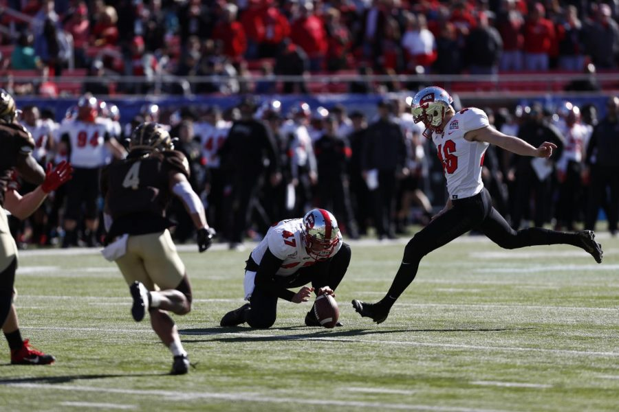 WKU freshman kicker Cory Munson attempts a field goal during the First Responder Bowl. WKU defeated Western Michigan 23-20 in Gerald Ford Stadium in Dallas.