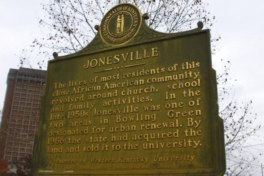 The Jonesville marker located on the Avenue of Champions near Nick Denes Field.