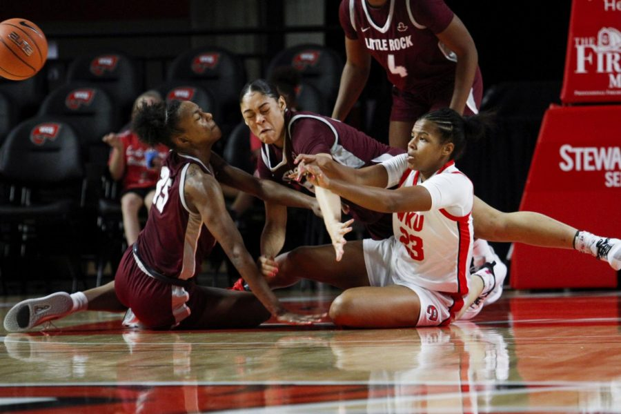 WKU forward Sandra Skinner battles for the ball to gain possession and start the fast break. The Lady Toppers defeated Little Rock 77-58 on November 24, 2019 at E.A. Diddle Arena.