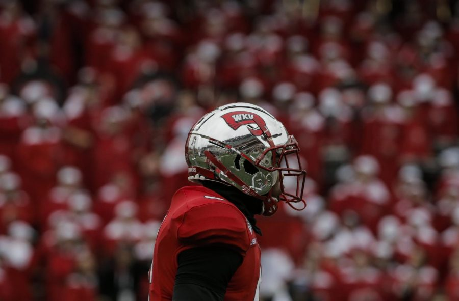 WKU+freshman+tight+end+Joshua+Simon+%286%29+walks+down+the+field+in-between+plays+during+the+game+against+MTSU+in+L.T.+Smith+Stadium+on+Saturday%2C+Nov.+30%2C+2019.