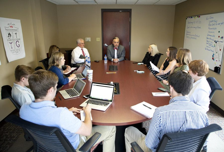 President Timothy Caboni sits down with the editorial board at the College Heights Herald discussing upcoming news for next semester on Aug. 24. at Student Publications.