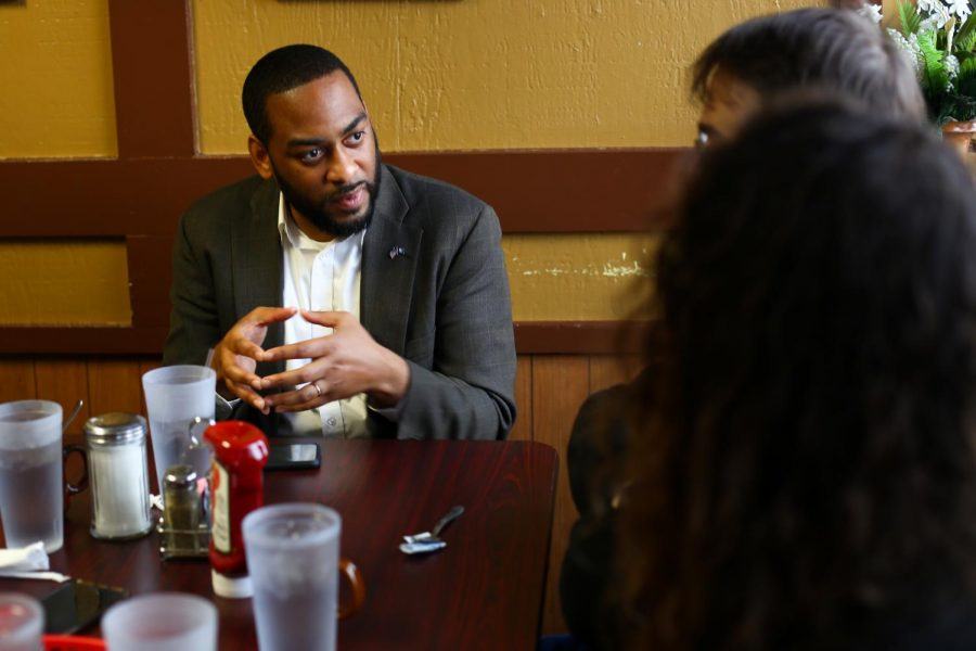 Representative Charles Booker speaks with the Sunrise Movement about his projection for a run for senate and climate change at the Lunchbox Cafe on Dec. 6, 2019.
