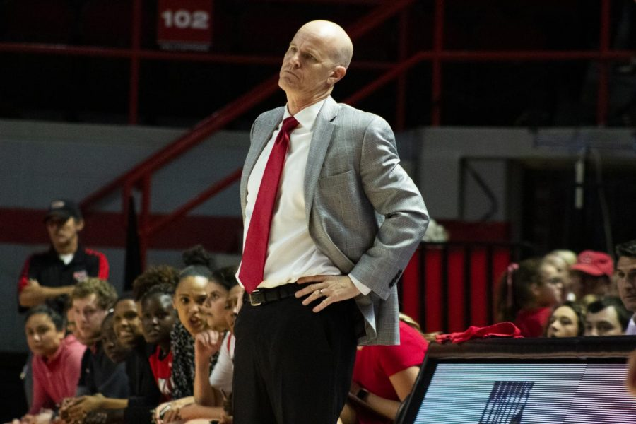 WKU+Coach+Greg+Collins+reacts+to+a+call.+The+Lady+Toppers+defeated+the+Chippewas+93+-+58+in+Diddle+Arena+on+Sunday%2C+November+17+2019.
