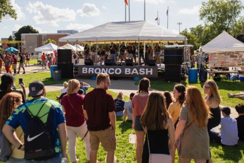 Thousands of students gather for Broncos Bash at the start of each fall semester. The event is designed to assist freshmen on how to get involved on campus and become more comfortable with the WMU community.